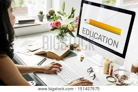 Education Pencil Graphic Learn Study Online Concept
