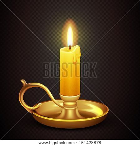 Realistic burning romantic candle isolated on transparent plaid background vector illustration. Antique brass candelabra with wax candle