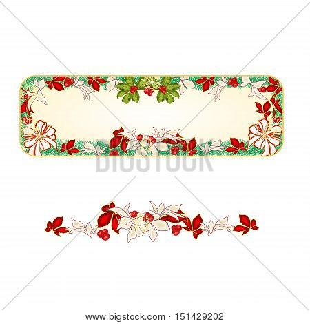 Banner Christmas Spruce and with white bows and poinsettia vector illustration
