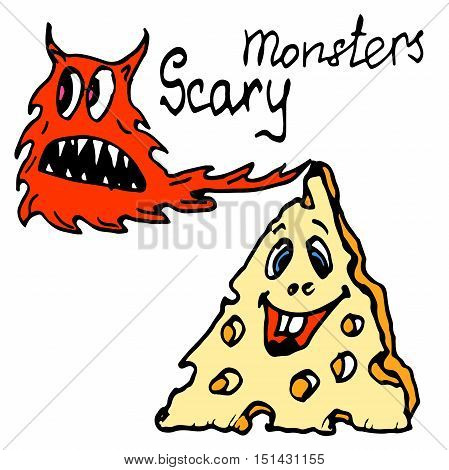 Hand drawn ink illustration. Colorful vector cartoon monsters. Halloween theme. Hand written words Scary Monsters.
