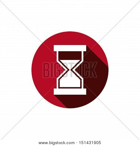 Vector illustration of antique hourglass placed in a circle. Time conceptual icon for use in advertising and as corporate brand element.