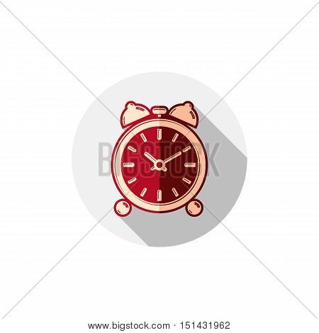 Wake up idea illustration. Classic three-dimensional alarm-clock isolated on white. Table clock with bells.