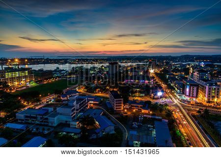Federal Territory of Labuan, Malaysia. Oct 12 2016 : The view of Labuan city during sunset.