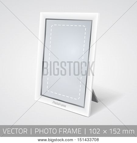 Vector isolated photo frame in perspective. Realistic photo frame standing on the surface with shadow.