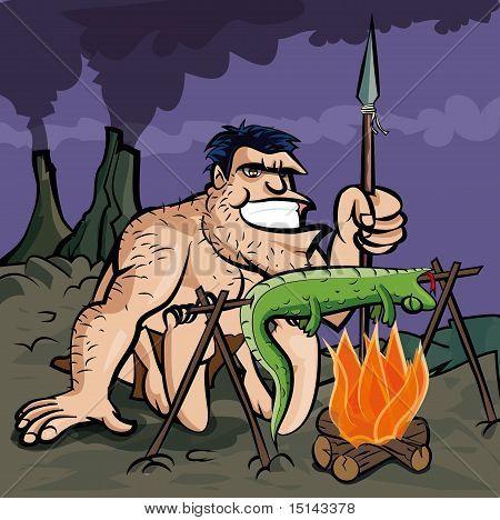 Caveman Cooking A Lizard Over An Open Fire