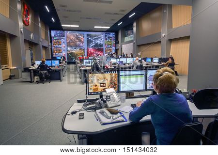 MOSCOW, RUSSIA - FEB 04, 2016: space situation Centre TSODD, monitoring passenger traffic