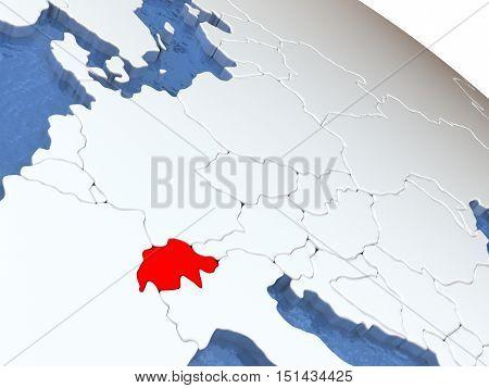 Switzerland On Globe