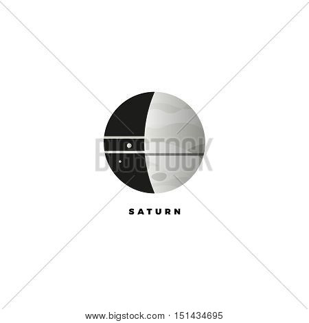 Saturn vector logo. Design template of planet with rings . Company logo. Vector illustration. Space and cosmos