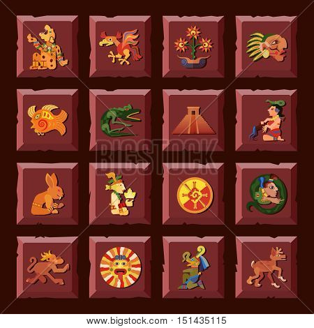 Maya square icons set with civilization and culture symbols flat isolated vector illustration