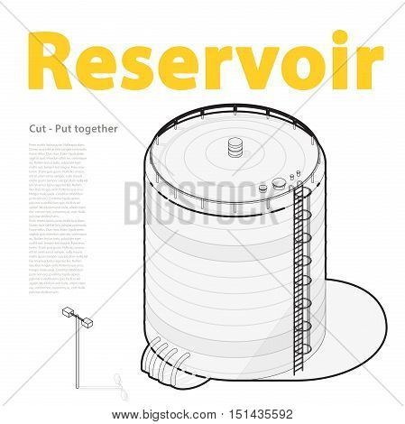 Water reservoir outlined. Water reservoir isometric building info graphic. Wire water supply resource. Pictogram industrial chemistry cleaner set with blue details. Flatten isolated master vector icon