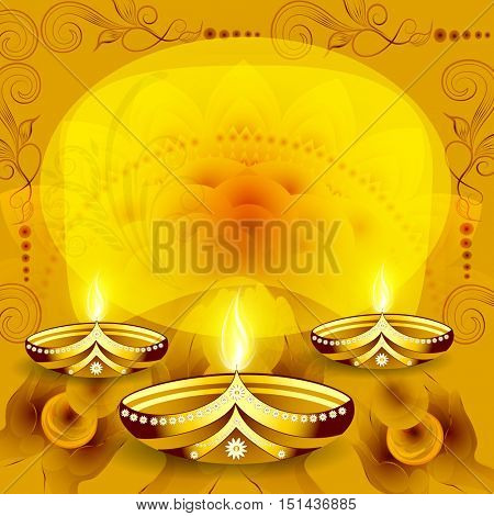 Creative illuminated Oil Lamps (Diya) on floral design decorated background, Elegant greeting card for Indian Festival of Lights, Happy Diwali celebration.