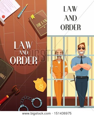 Law and justice 2 vertical cartoon banners set with convict in jail behind bars retro vector illustration