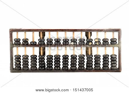 close up Antique abacus isolated on white background.
