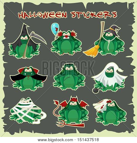 Halloween stickers green toads fashion costume outfits. Dead bride , Salem witch , mummy, zombie and other traditional Halloween costumes frogs . Cartoon style vector illustration isolated on white background