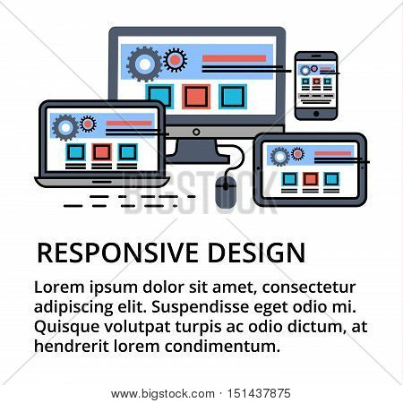 Modern editable flat line vector of responsive design for web and graphic design