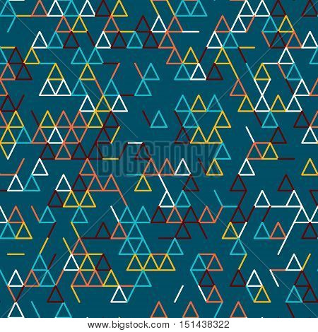 Abstract geometric background. Abstract technology pattern with colorful geometric shapes in tessellation. Linear abstract lattice bright random colors. Vector seamless linear pattern.