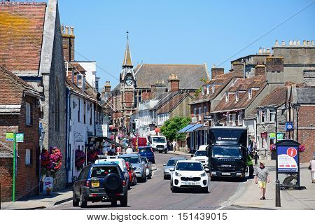 WAREHAM, UNITED KINGDOM - JULY 19, 2016 - View along North Street towards the Victorian Town Hall in the town centre Wareham Dorset England UK Western Europe, July 19, 2016.