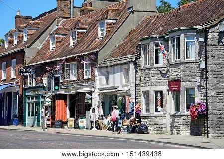 WAREHAM, UNITED KINGDOM - JULY 19, 2016 - Shops along North Street in the town centre Wareham Dorset England UK Western Europe, July 19, 2016.