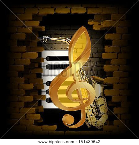 Vector illustration golden treble clef on a background of a brick wall and saxophone and piano keys. The image created on a black background with no boundaries and can be used on any image or text.
