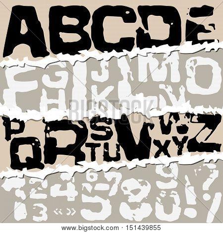 Vector illustration alphabet. Grunge black stamp font