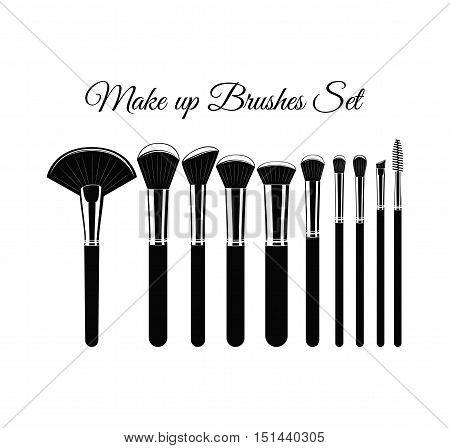 Set of Cosmetic Brushes for Make up. Isolated On White