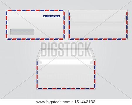 Vector mail envelopes par avion. Blank paper envelopes for your design. Vector envelopes template.