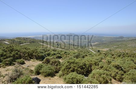 View of the coastline from the viewpoint of the Mountain La Curota in Ribeira Galicia Spain.