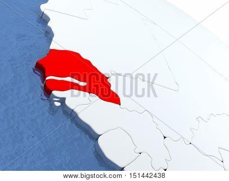 Senegal On Globe