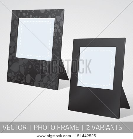 Vector isolated photo frames in perspective. Realistic photo frames standing on the surface with shadow.