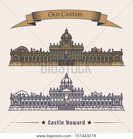 England north yorkshire howard castle or stately home. Country house for lord family mansion construction or structure exterior view. Illustrations for old or vintage historical monument theme