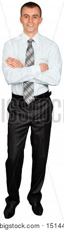 Young Businessman Standing with Arms Folded - Isolated