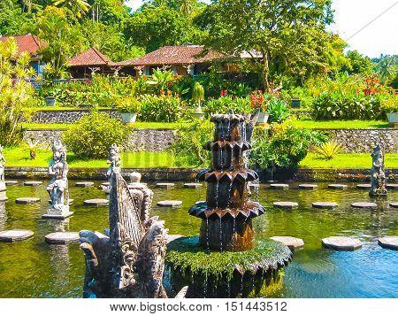 Bali Indonesia - April 17 2012: Tirtaganga water palace at Bali island at Indonesia