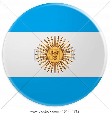 Glossy Argentina Badge Argentine Flag 3d illustration