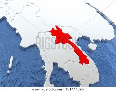 Laos On Globe