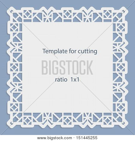 Blue greeting card with openwork border paper doily for under the cake template for cutting wedding invitation decorative plate is laser cut frame with lace edge vector illustrations.