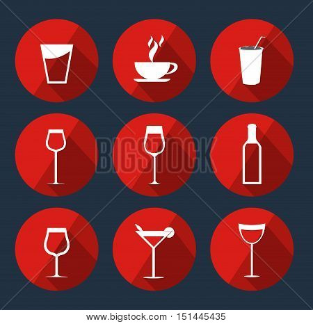 Drink Round Flat Icons pack, Vector, Illustration,