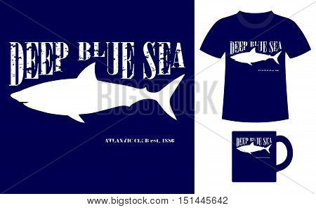 Pattern design concept for printing on T-shirts and souvenirs: title Deep blue sea. Atlantic club 1886 and silhouette shark. Vintage style hand drawn. Vector illustration