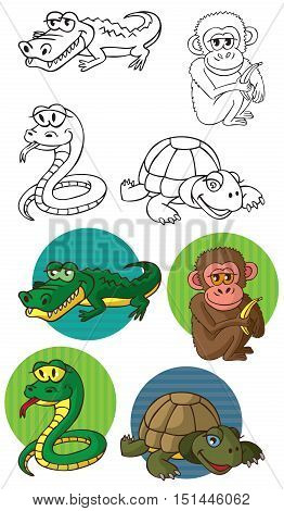 illustration on a white background in a circle of wild animals reptiles and a monkey crocodile snake turtle