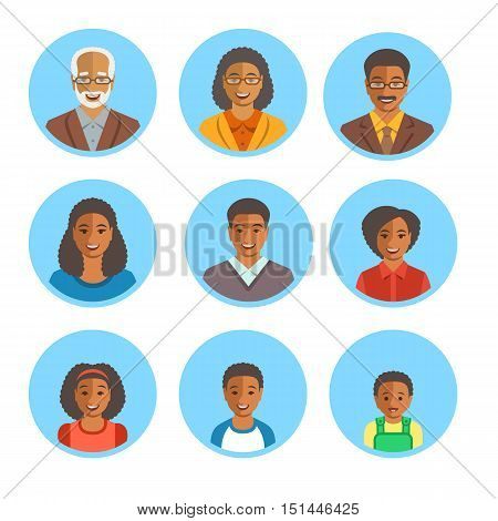 African American family happy faces. Vector flat avatars. Black people all ages generation simple icons. Mother father adult teen little kids portraits. Young senior men women boys girls baby