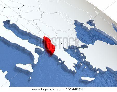 Albania On Globe