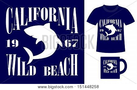 Pattern design concept for printing on T-shirts and souvenirs: title California wild beach and silhouette white shark. Vintage style hand drawn. Vector illustration