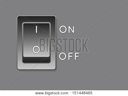 black electrical switch on gray surface. vector illustration