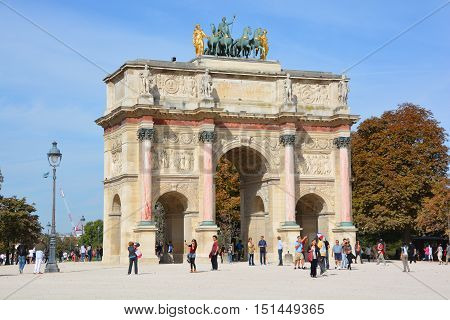 PARIS, FRANCE OCTOBER 17: Arch Triumph Carousel on October 17, 2014. Triumphal arch in Paris, located in the Carrousel Square on the site of the former Tuileries Palace.