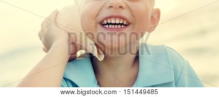 Boy Adolescence Beach Enjoyment Happiness Concept