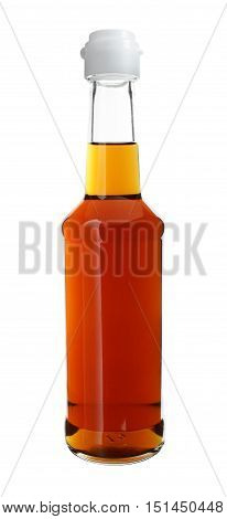 Sauce in Long Neck Glass Bottle isolated on white background