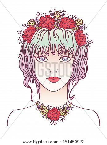 Beauty. Beautiful hipster girl portrait in hand draw style. Vector illustration of young girl with flowers in her curly violet hair. Fasion girl with flowers.