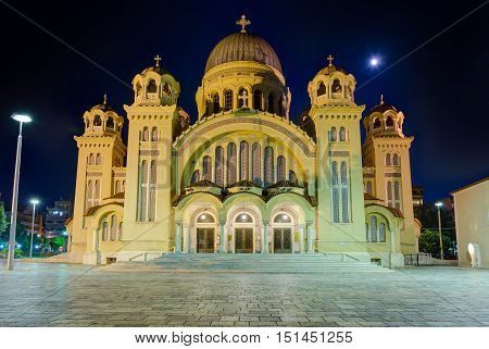Saint Andrew basilica at night, the largest church in Greece, Patras, Peloponnese.