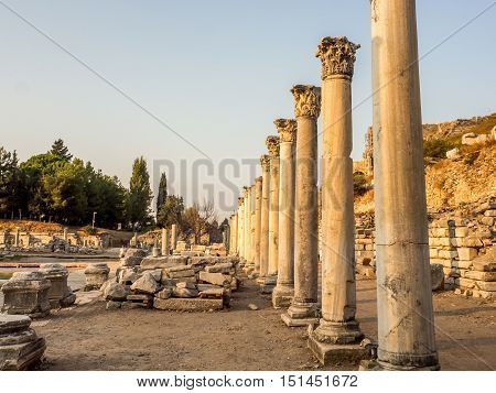 Selcuk Izmir Turkey - September 13 2016: Ephesus was an ancient Greek city on the coast of Ionia. UNESCO World Heritage Site.