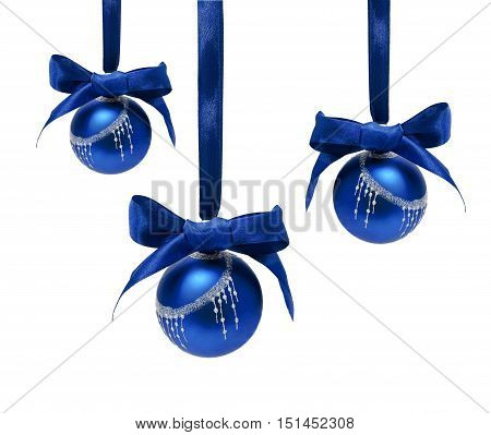Hunging blue christmas balls isolated on a white background