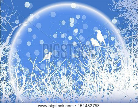 Background of winter snowy trees with birds and snowflakes. Blue and white winter background with twigs and silhouettes of birds